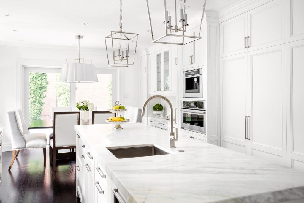 luxury kitchen painted in white by painting contractor