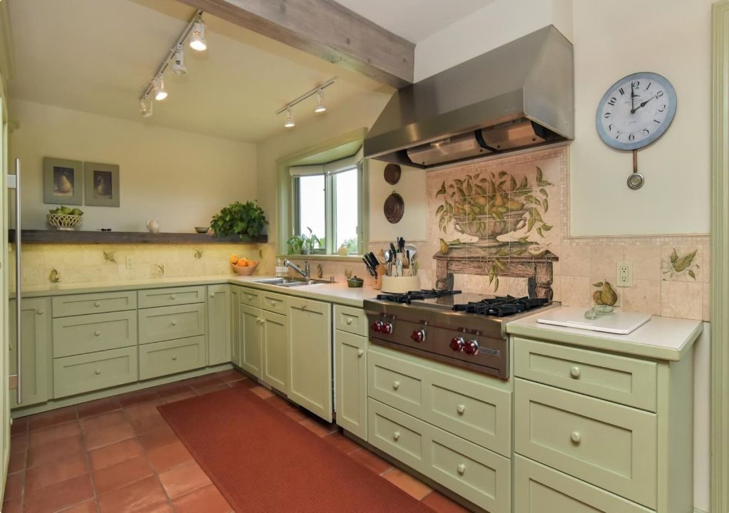 luxury kitchen with green paint cabinets  - professional painters toronto
