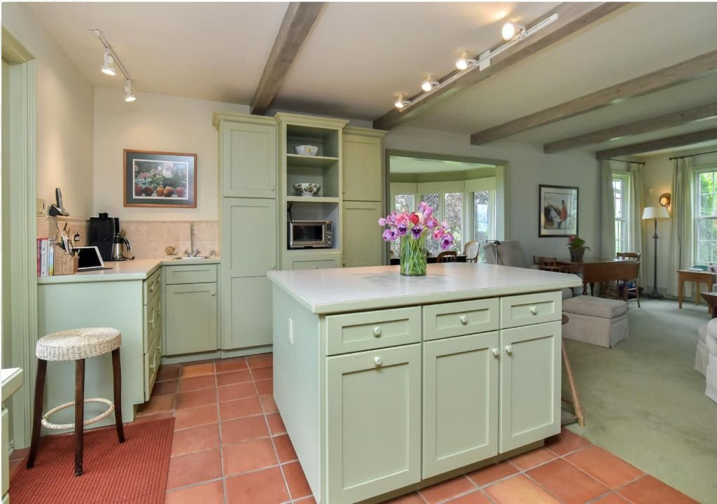 custom kitchen with green cabinets, interior painting GTA