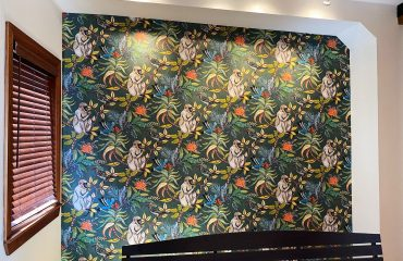 amazing wallpaper installation in custom home hallway