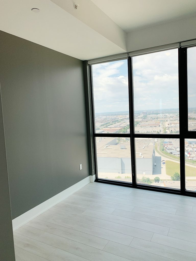 custom condo apartment with gray interior painting